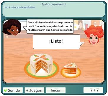 Juego de pasteles para aprender inglés