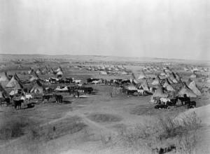 Antigua imagen de un campamento Lakota