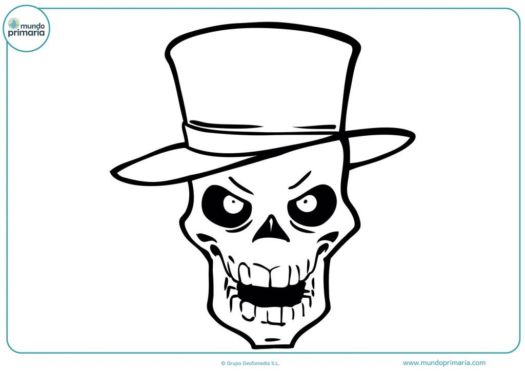 Dibujo de una calavera con sombrero