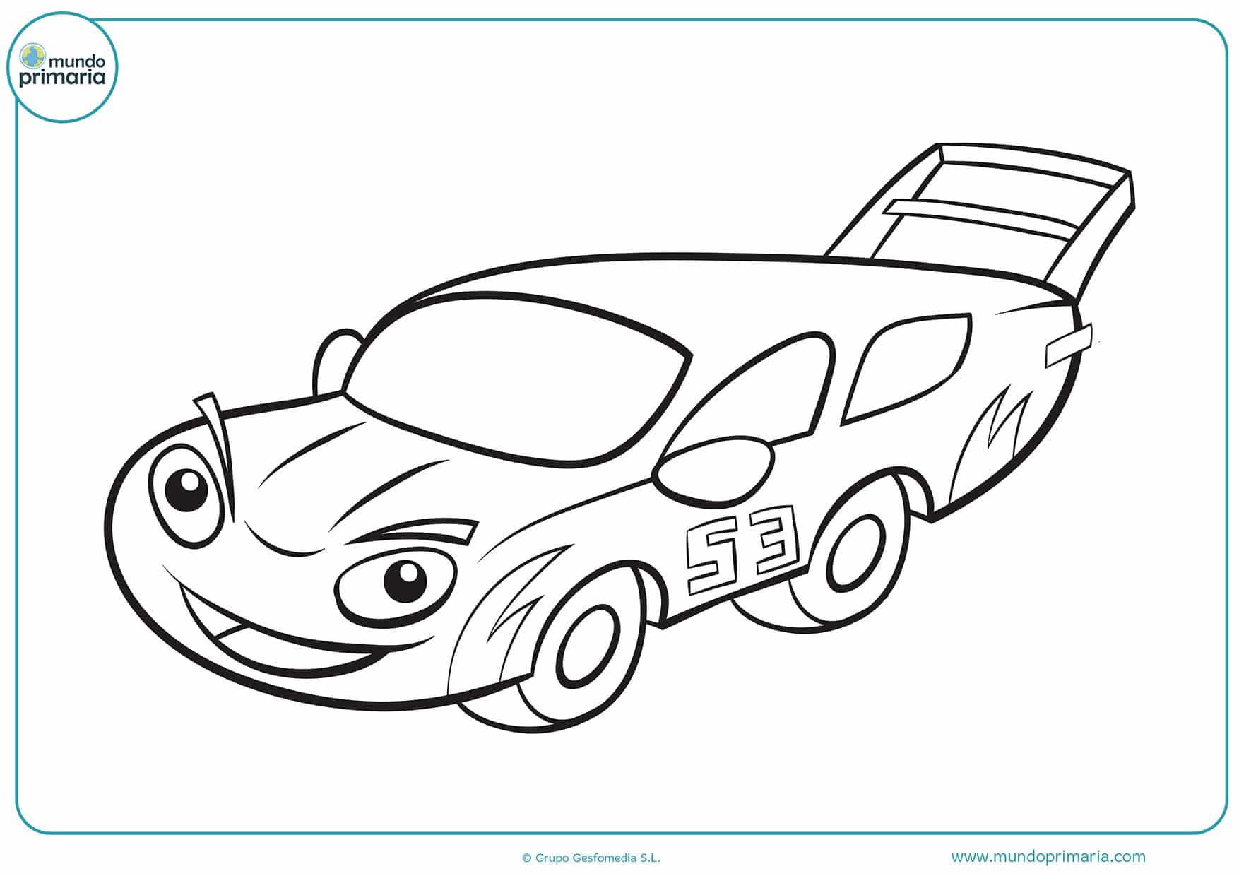 Colorear dibujos coches carreras gratis