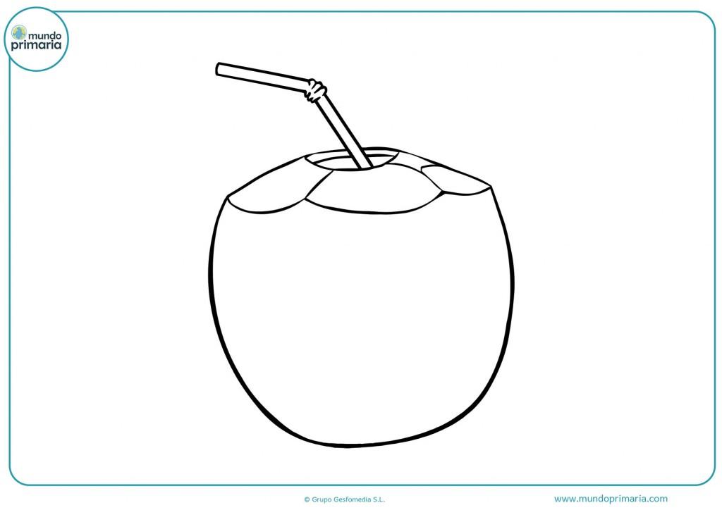 Dibujo para descargar y pintar el zumo de coco