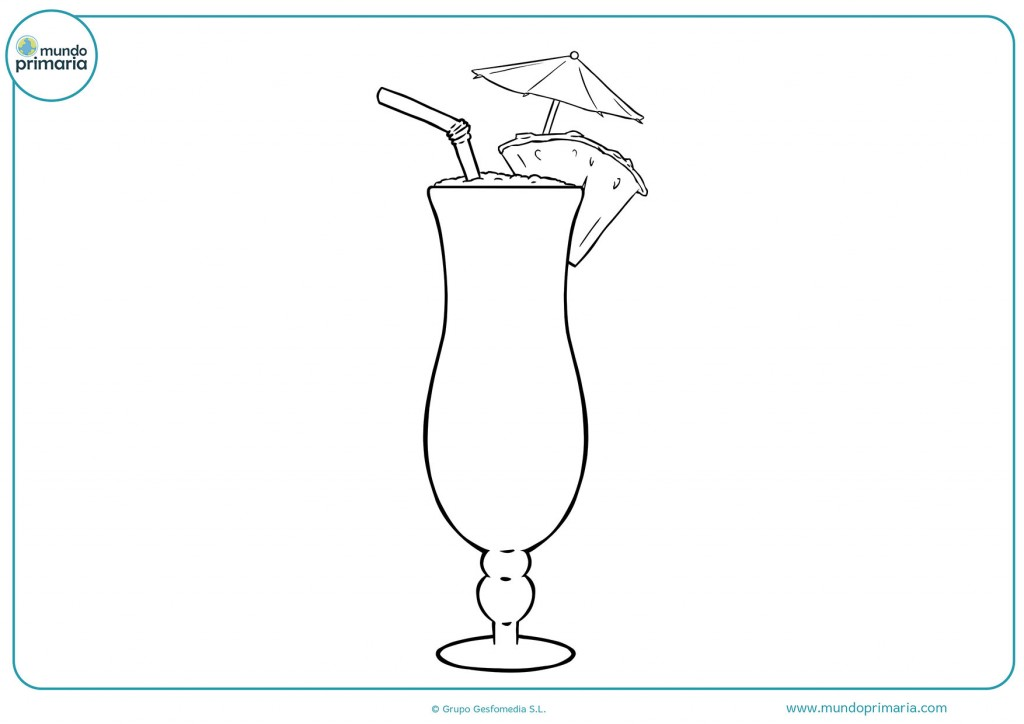 Dibujo para colorear un cóctel con pajita