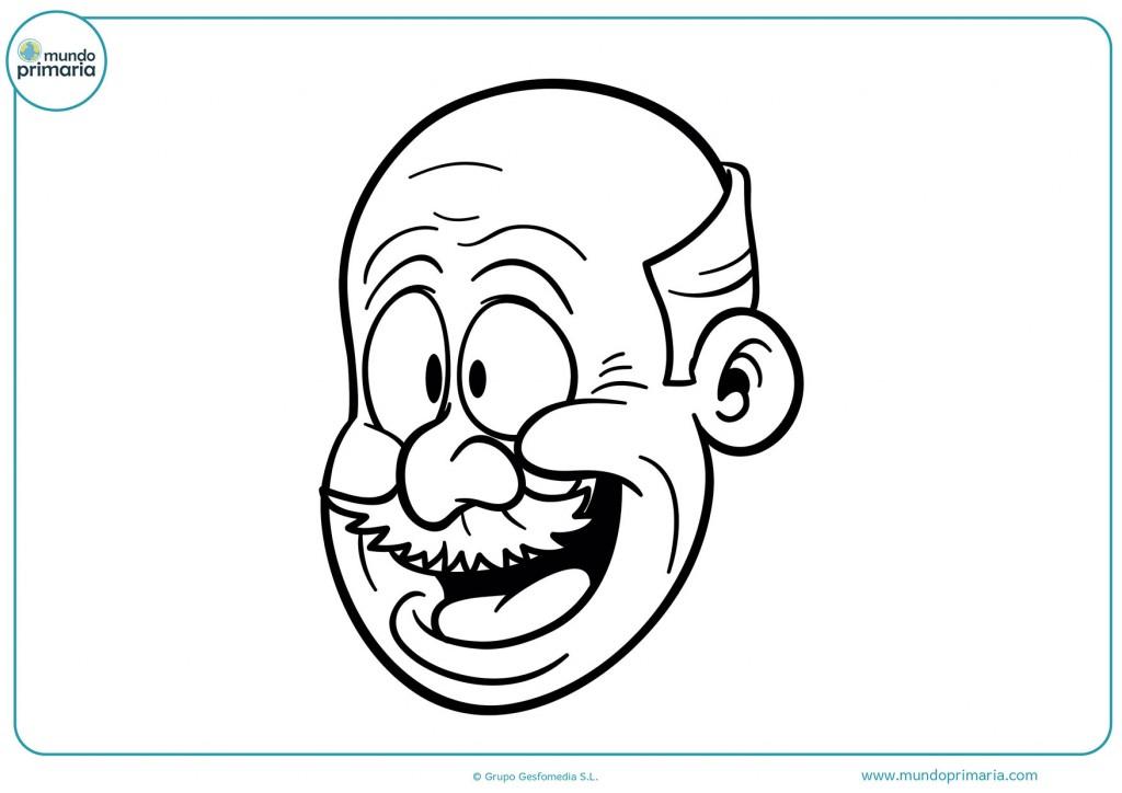 Imagen para colorear de una cara de un abuelo calvo