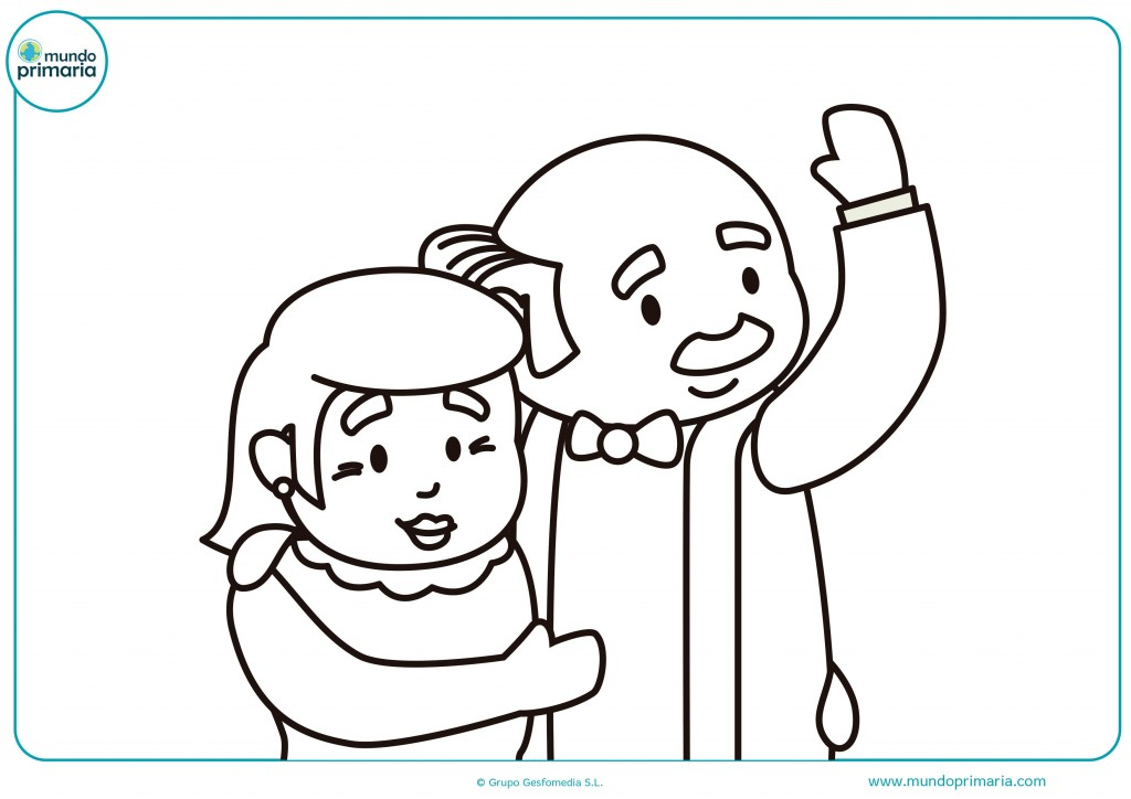 Pinta y colorea el dibujo de los abuelos abrazados