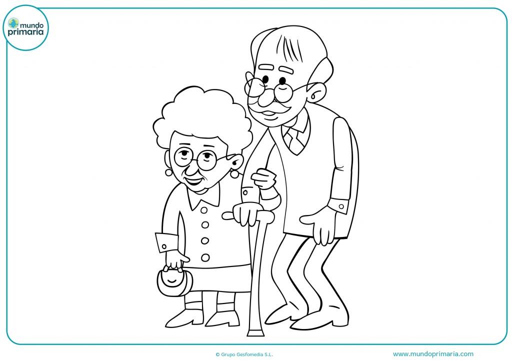Colorea el dibujo de estos abuelos andando
