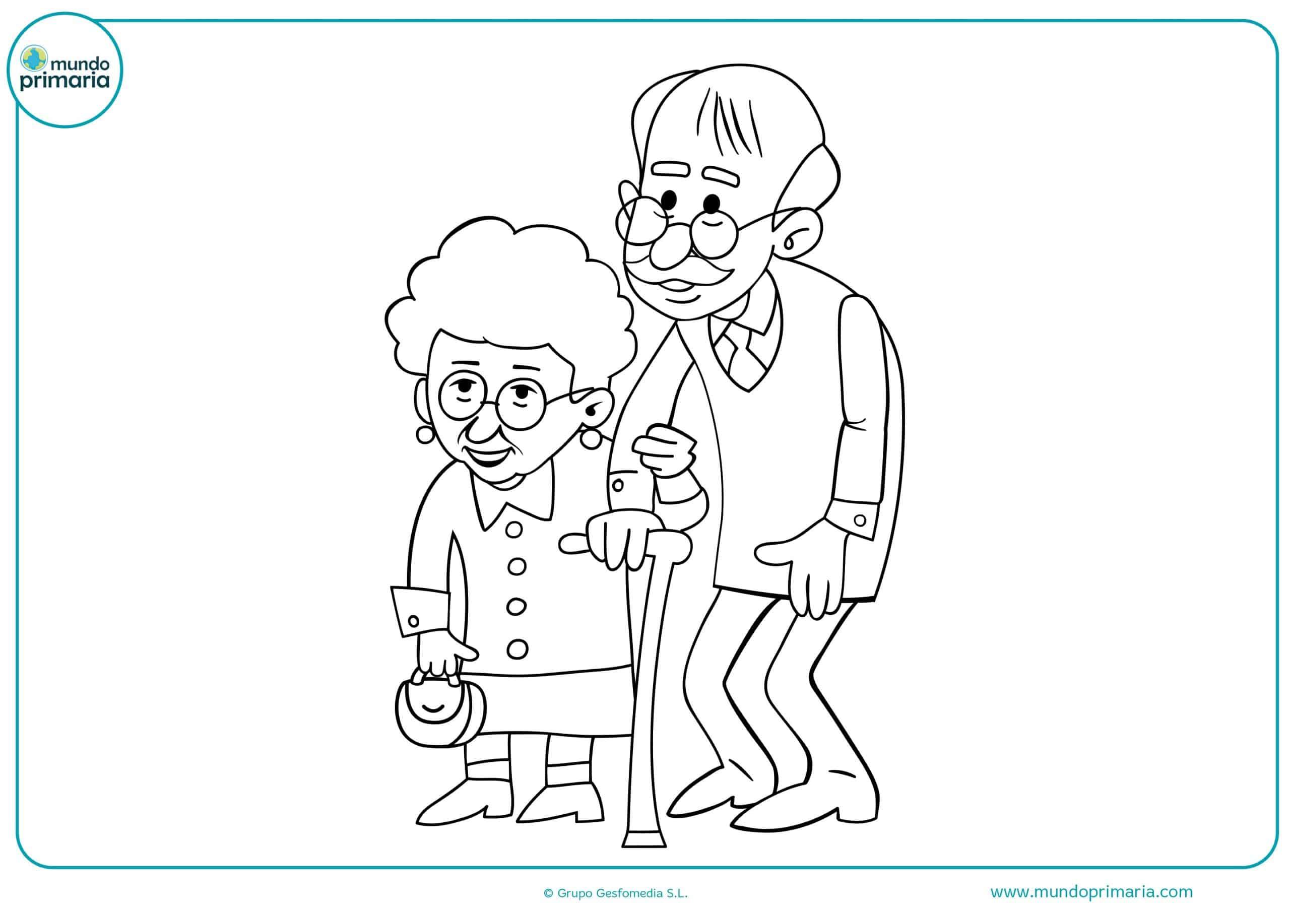 Dibujos de abuelos y abuelas para pintar - Mundo Primaria