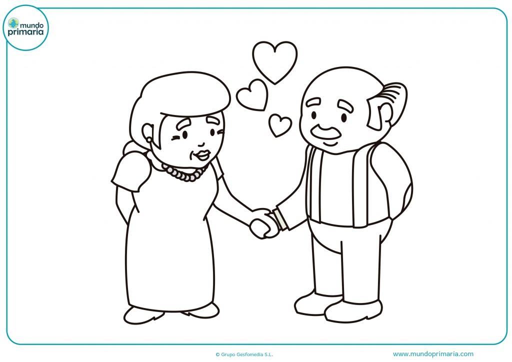 Colorea este dibujo de dos abuelos enamorados