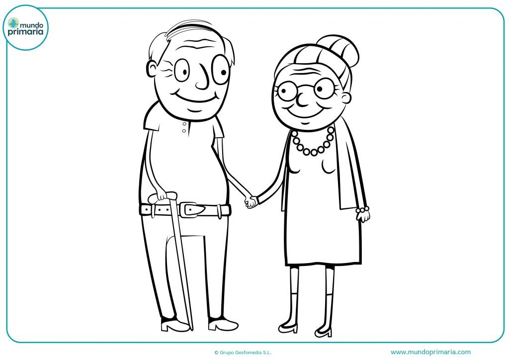 Colorea el dibujo de estos dos abuelos dados de la mano