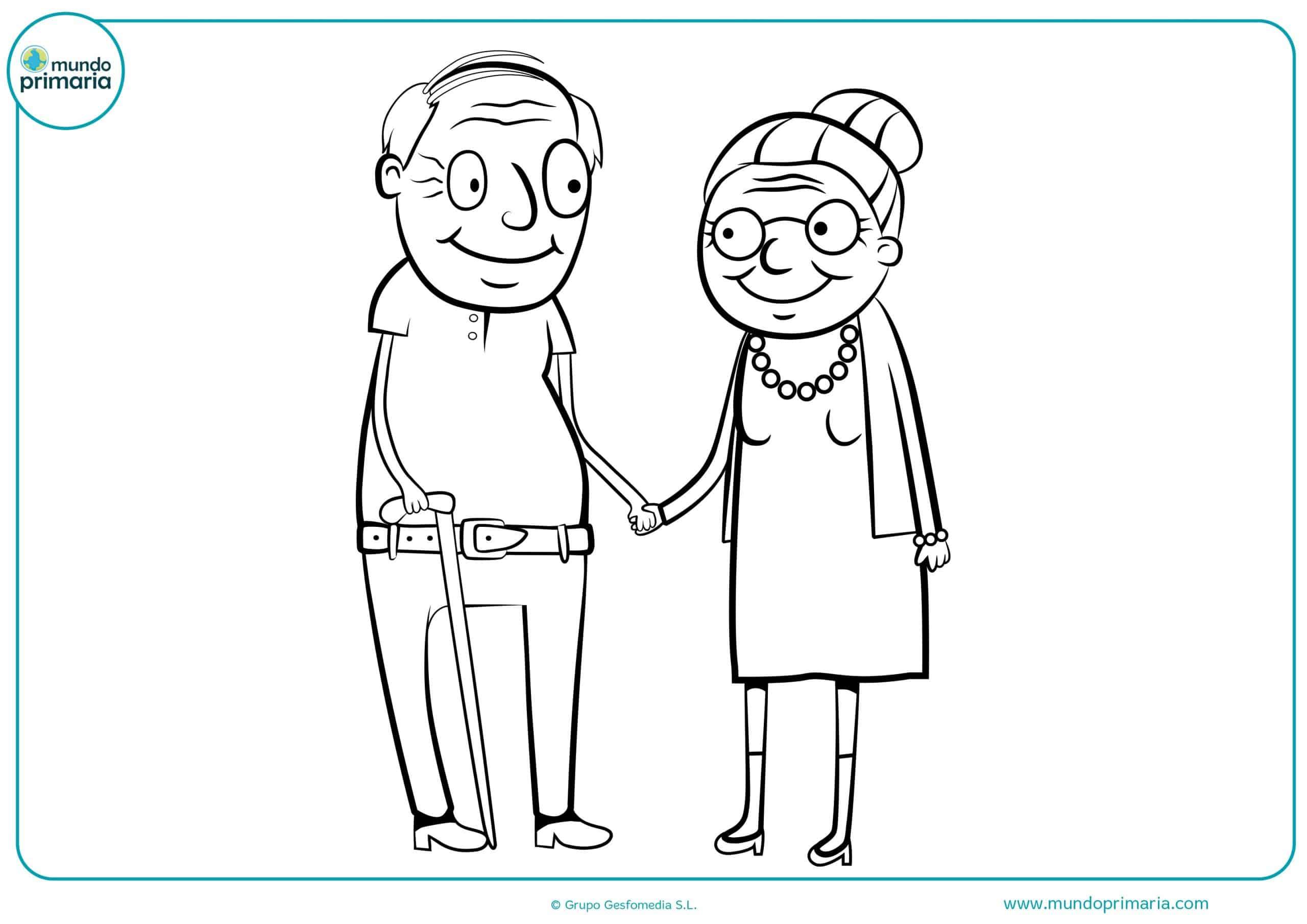 Dibujos colorear abuelos abuelas primaria