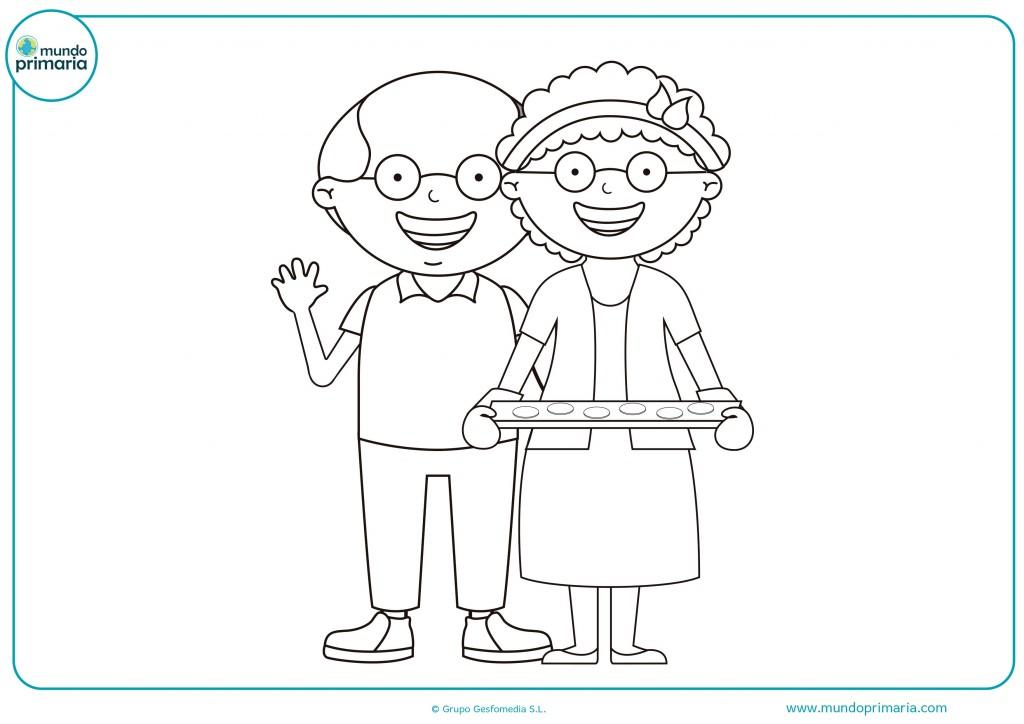 Descarga este dibujo de abuelos haciendo galletas
