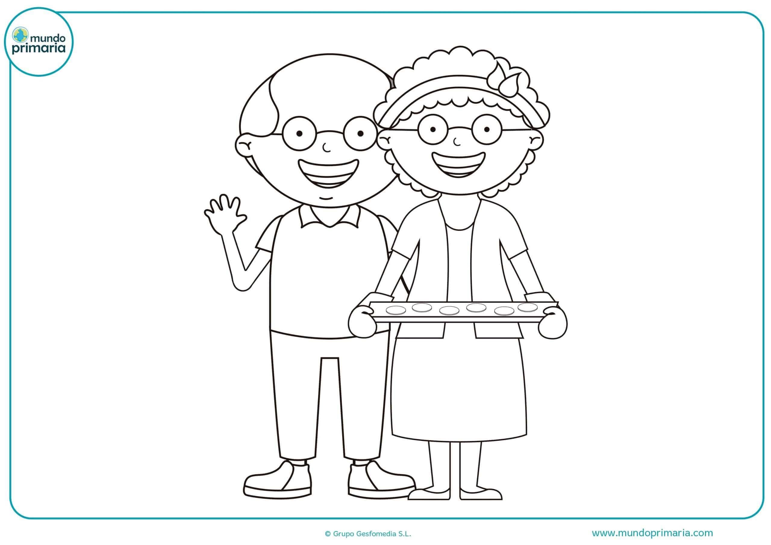 Dibujos abuelos abuelas colorear para imprimir