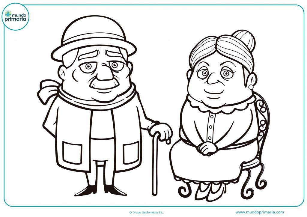 Colorea este dibujo de estos abuelos posando