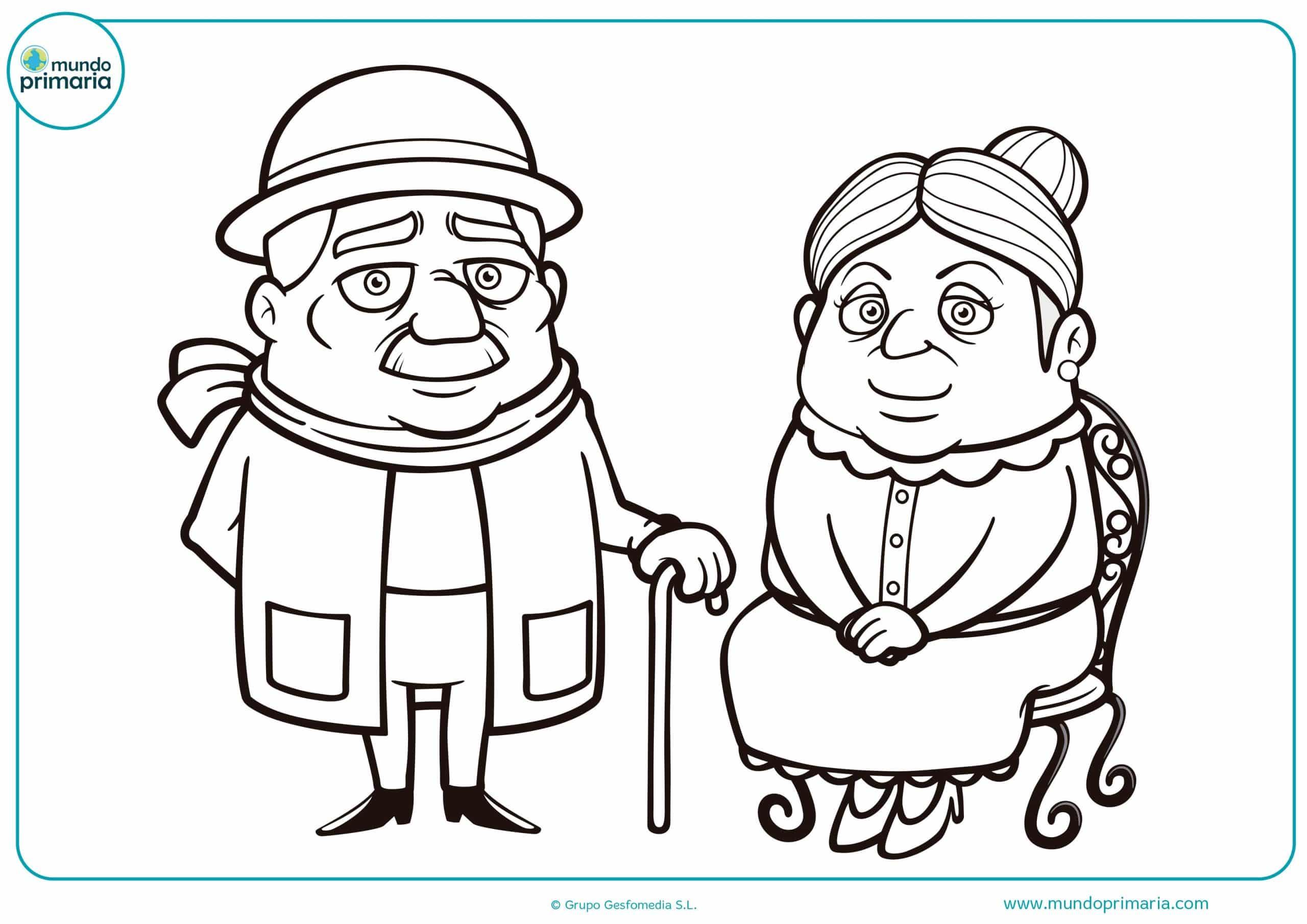 Colorear dibujos abuelos abuelas gratis