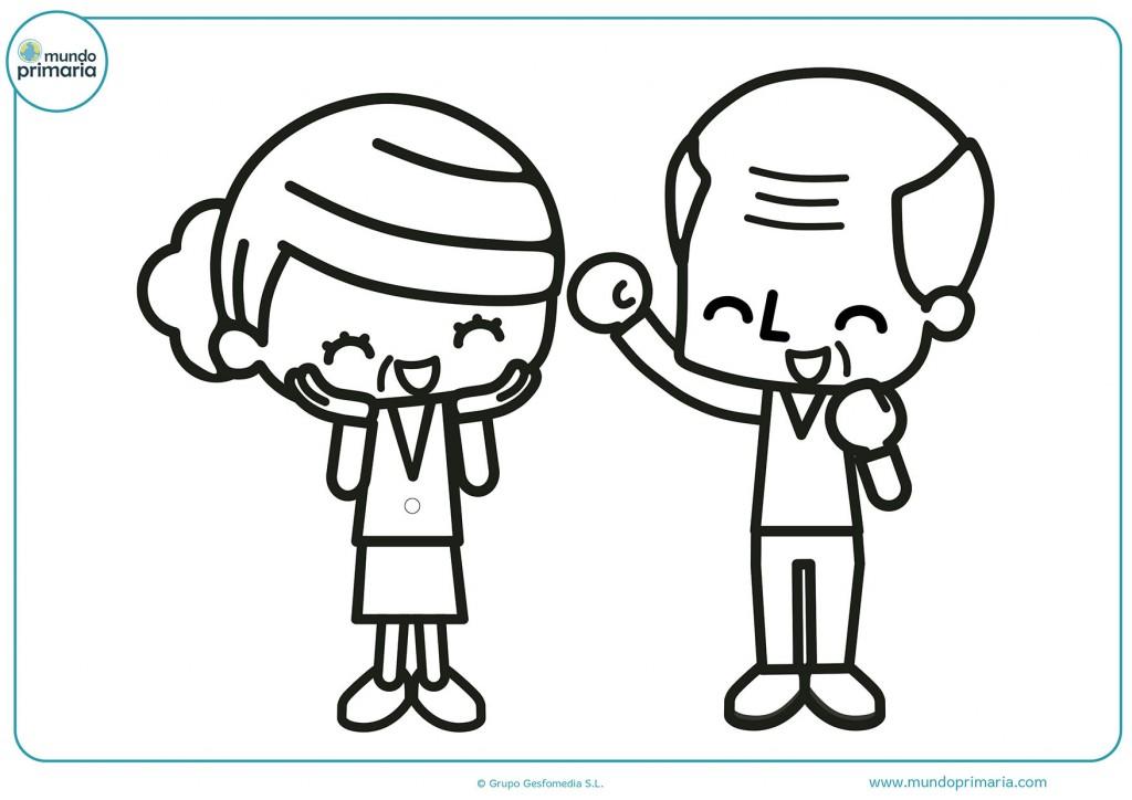 Dibujo coloreable de unos abuelos saludando