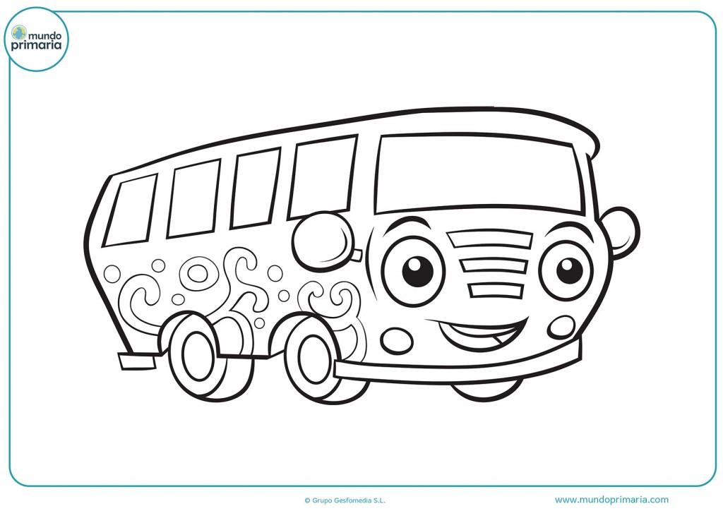 Colorea el autocar y píntale los ojos de color verde