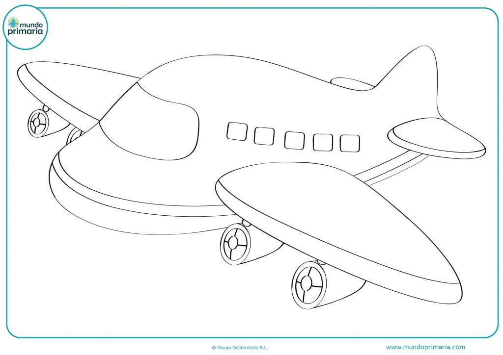 Descarga este avión y pinta sus alas en azul y las ventanas blancas