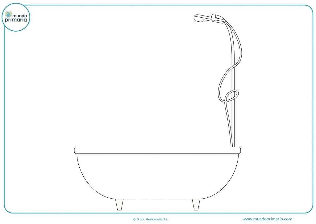 Pinta la bañera para completar el dibujo