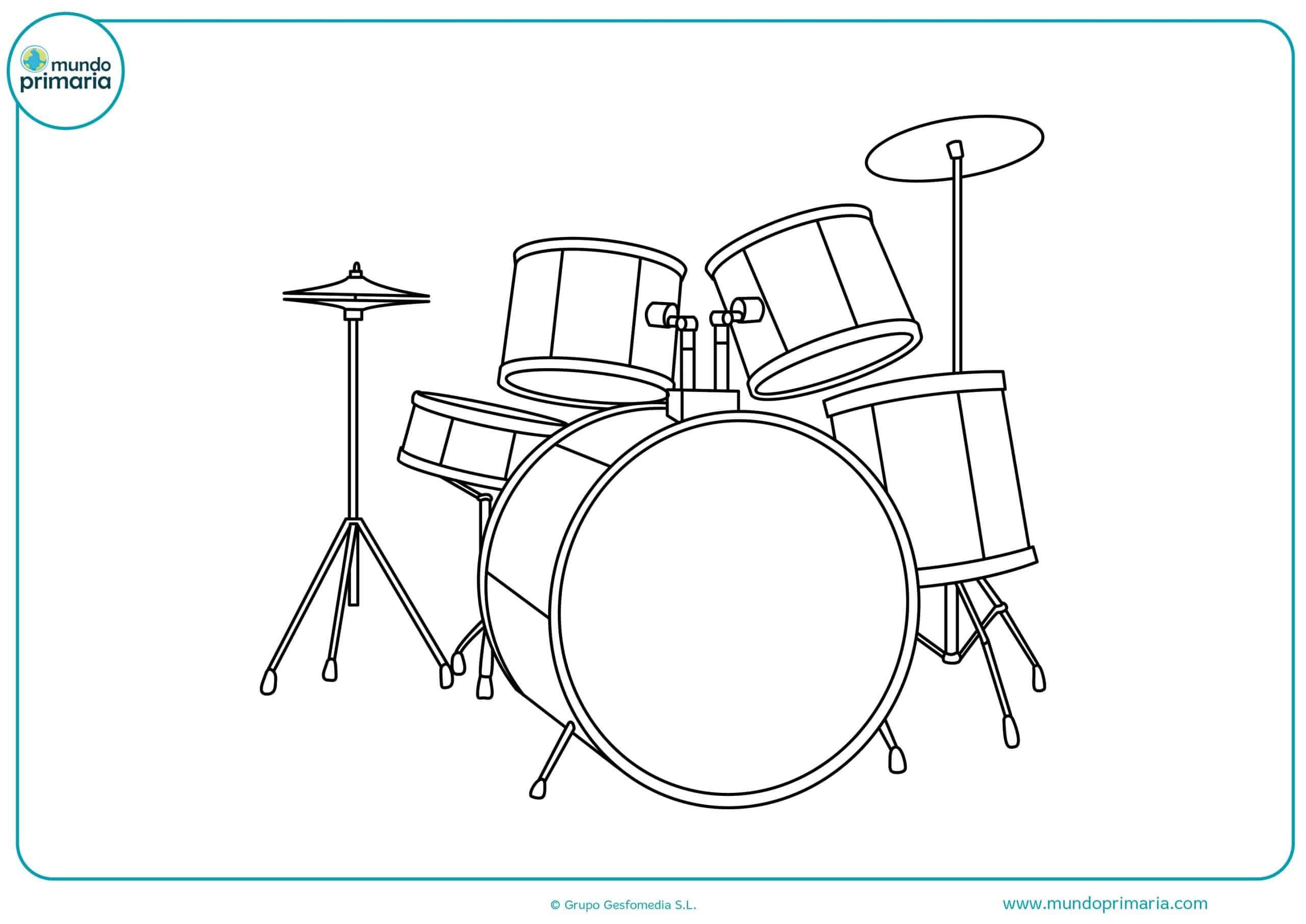 Dibujos instrumentos musicales colorear fáciles