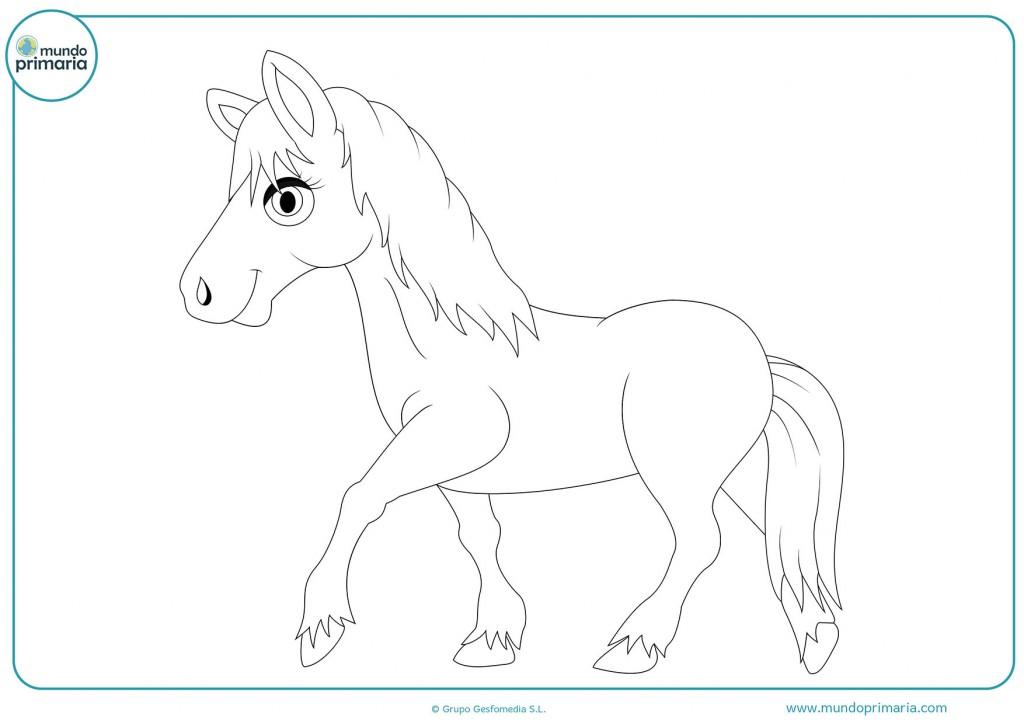 Pinta el caballo andando para completar el dibujo