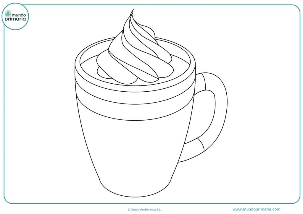 Dibujo de un café lleno de espuma para pintar