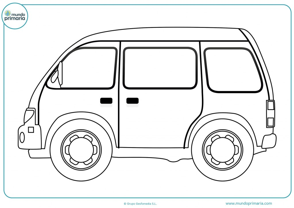 Dibujo de una camioneta con tres ventanas