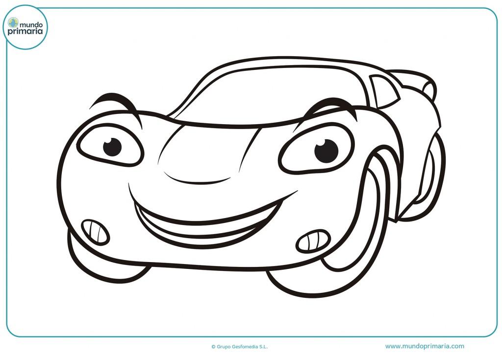 Descarga el dibujo de el auto de carreras feliz y coloréalo