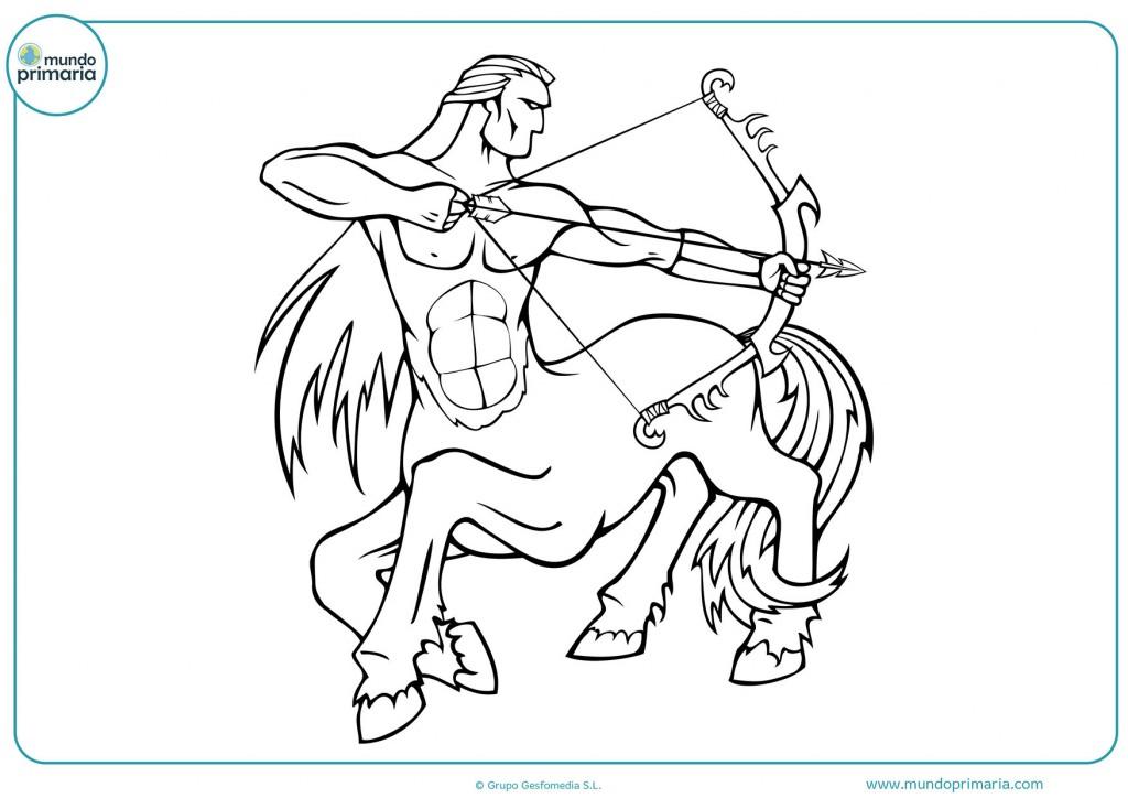 Dibujo de un centauro con arco para colorear