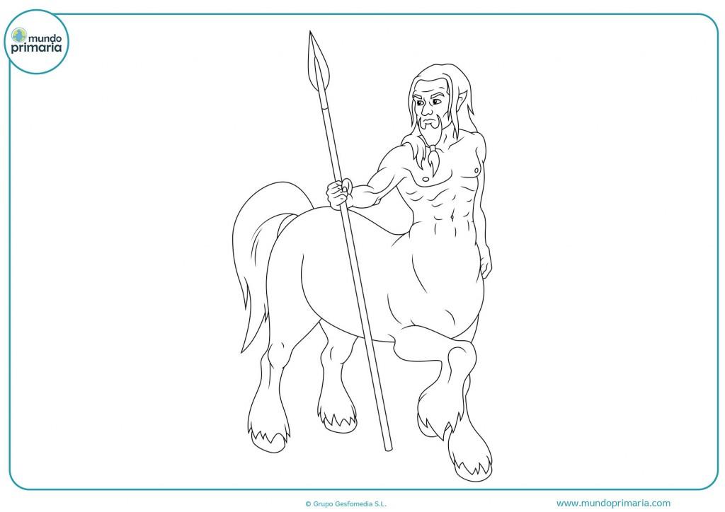 Pinta con colores el dibujo del centauro con lanza