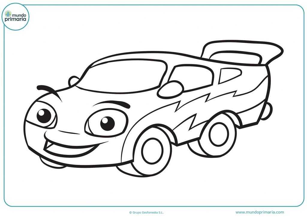 Colorea el coche con alerón para completar el dibujo