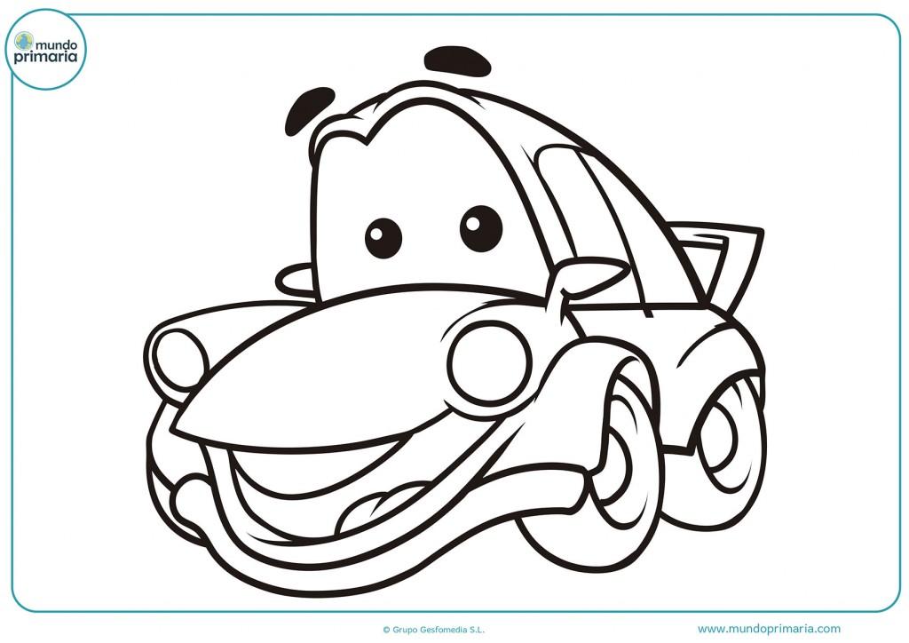Pinta el automovil con cara para niños