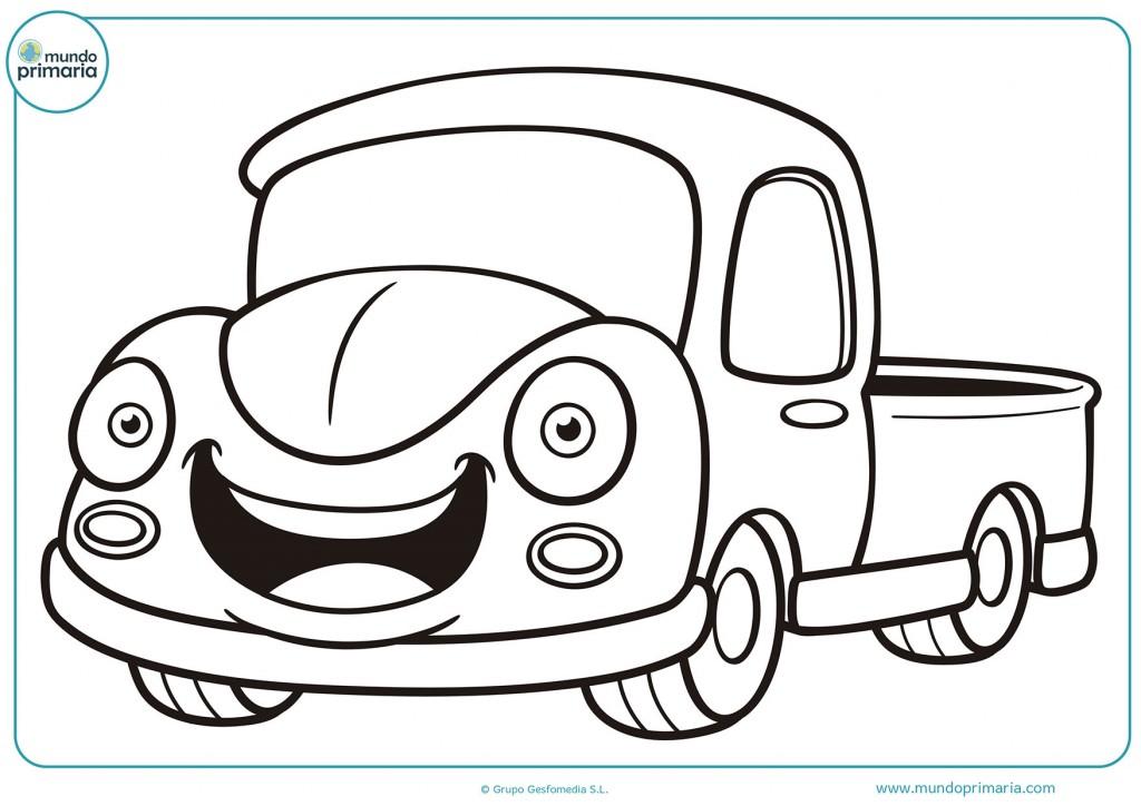 Colorea el camión viejo con cara feliz
