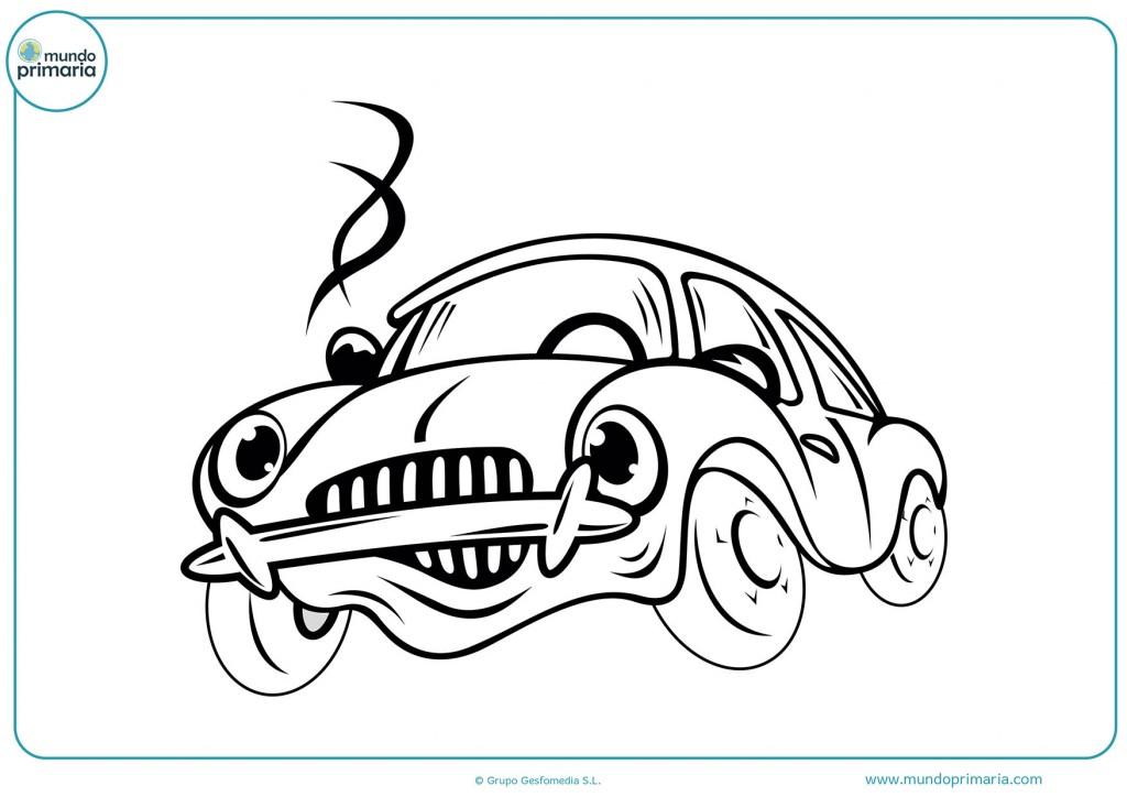 Con cuidado colorea el coche que esta estropeado