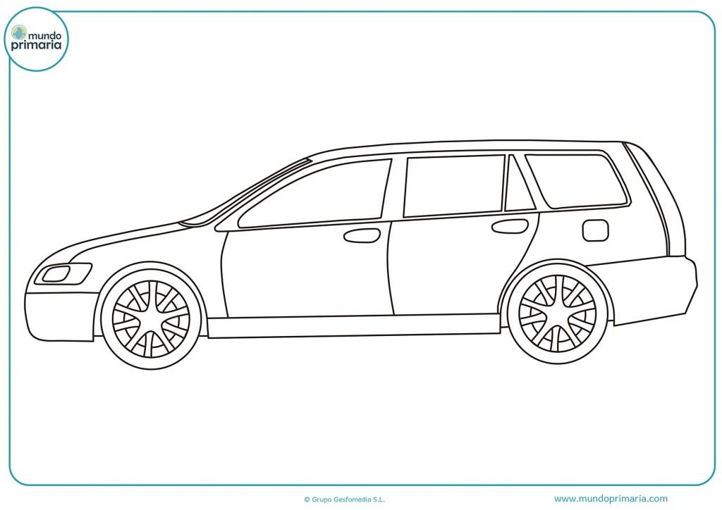 Pinta el coche largo de perfil para infantil