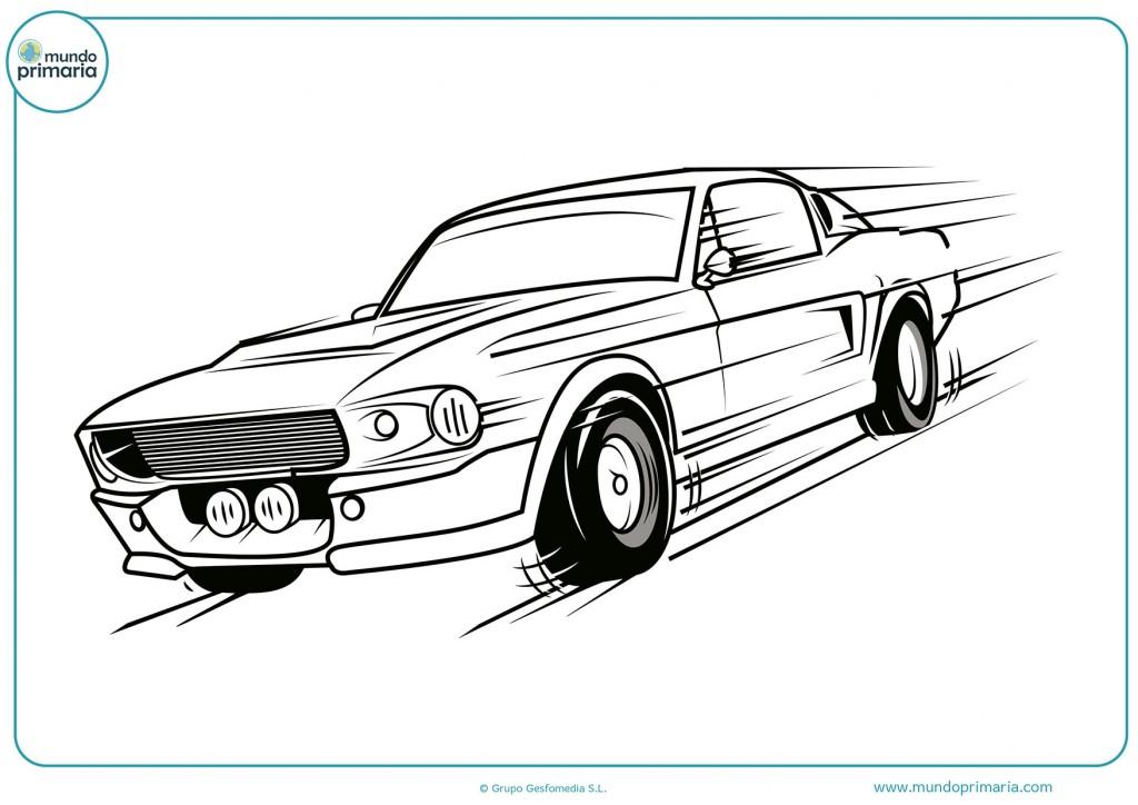 Colorea este dibujo de un coche rápido
