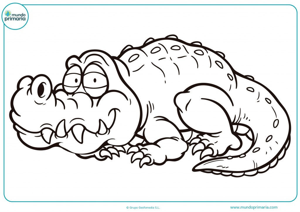 Colorea este enorme cocodrilo y enormes dientes