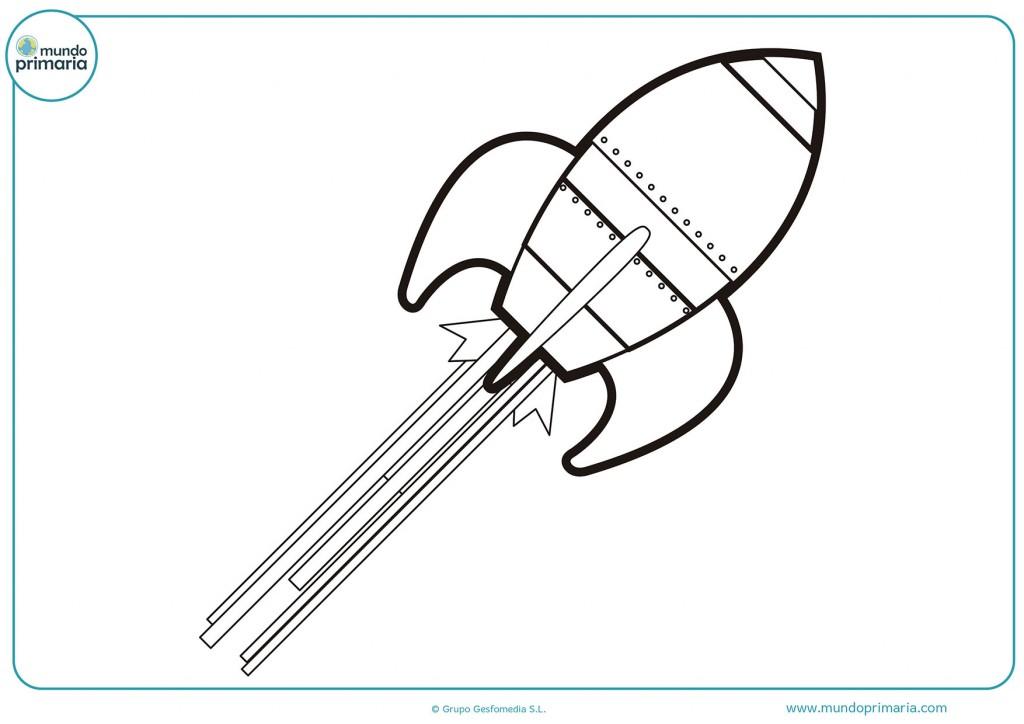 Dibujo de un cohete en marcha para colorear