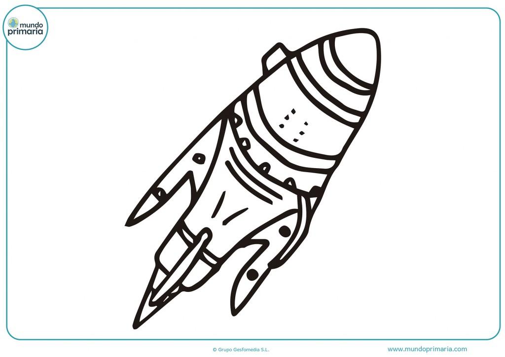 Pinta con colores el cohete espacial