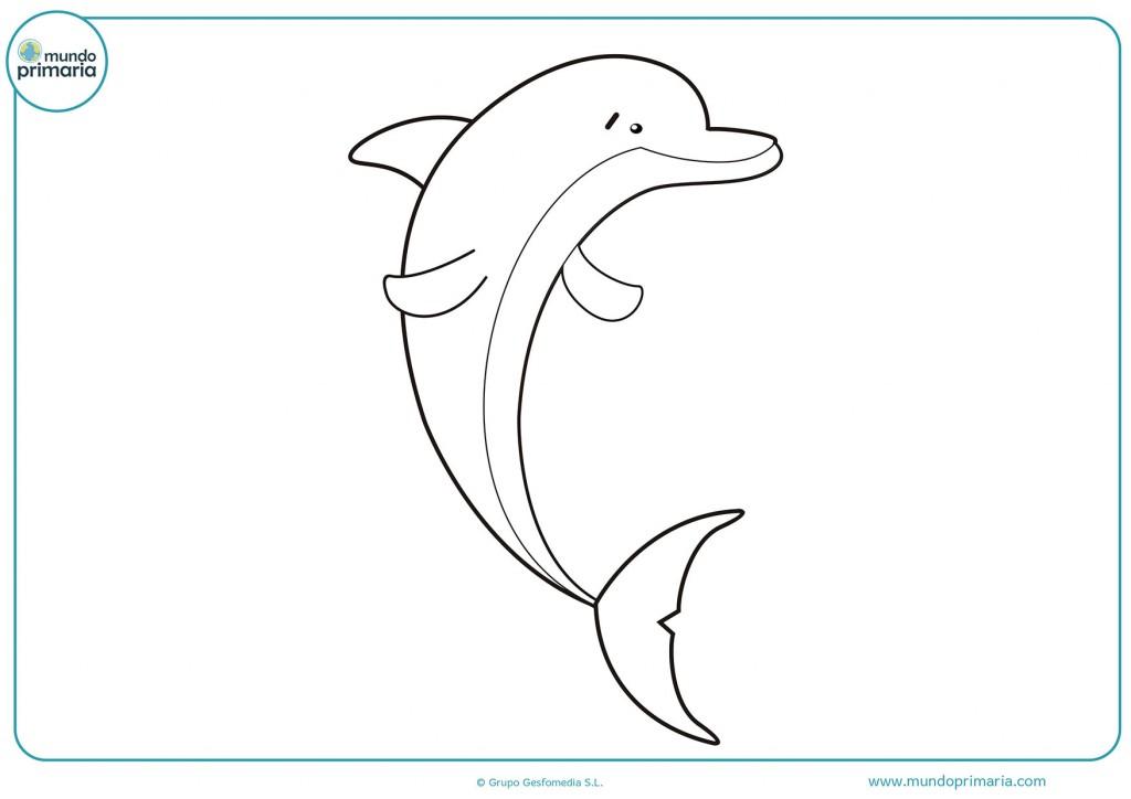 Dibujo de un delfin alegre para colorear