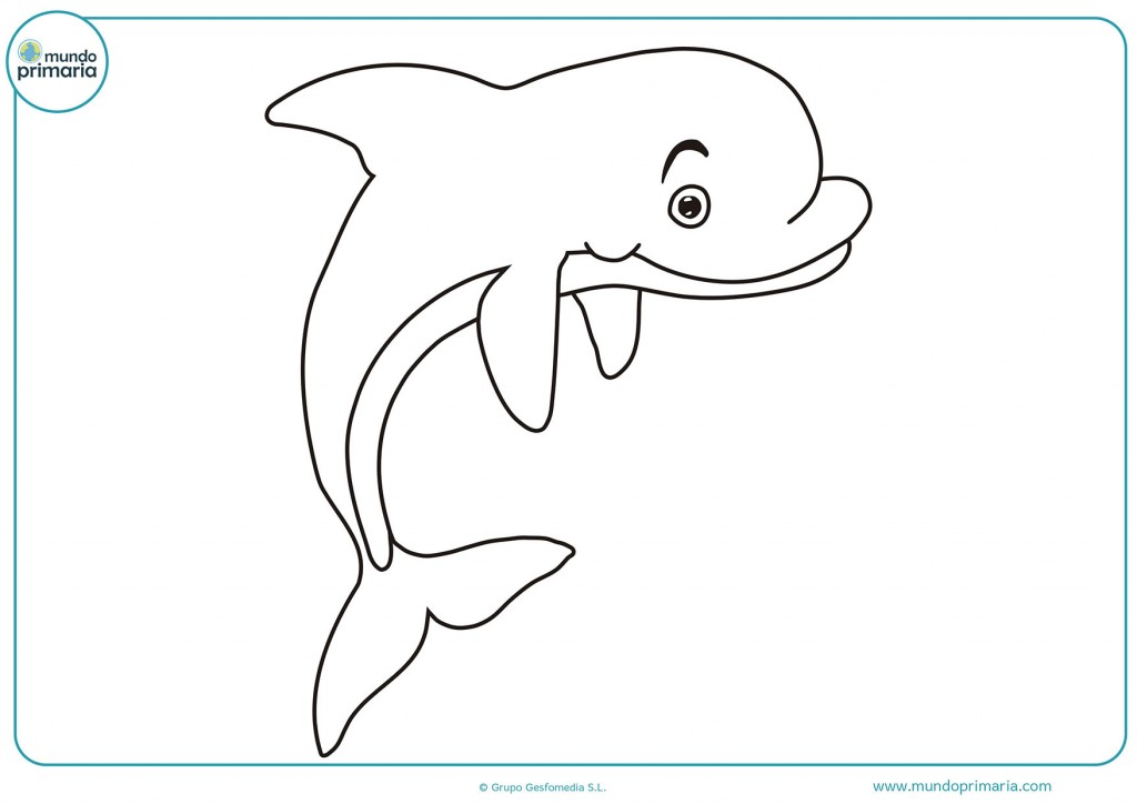 Descarga el delfin sonriendo y pintalo a tu gusto