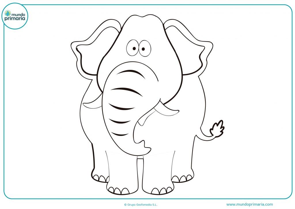 Colorea este gran elefante pinta en gris su larga trompa