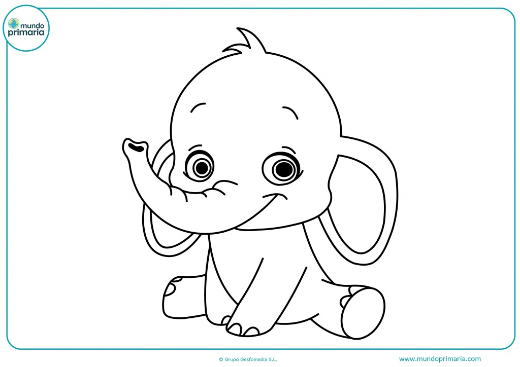 Pinta precioso bebé elefante con ceras rosas