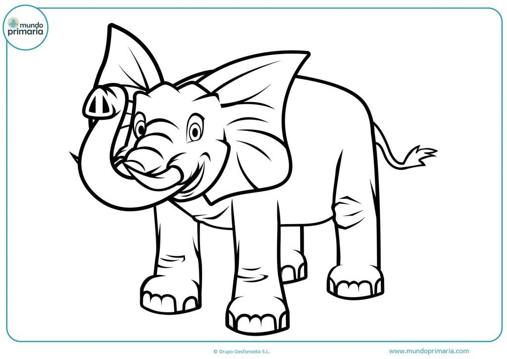 Colorea gran elefante feliz con la trompa saludando