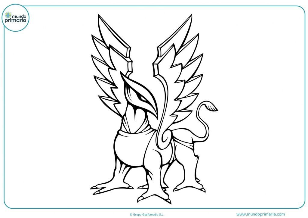 Colorea el esfinge con las alas abiertas