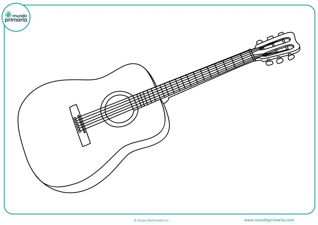 Colorear esta guitarra en colores claros y cuerdas en negro
