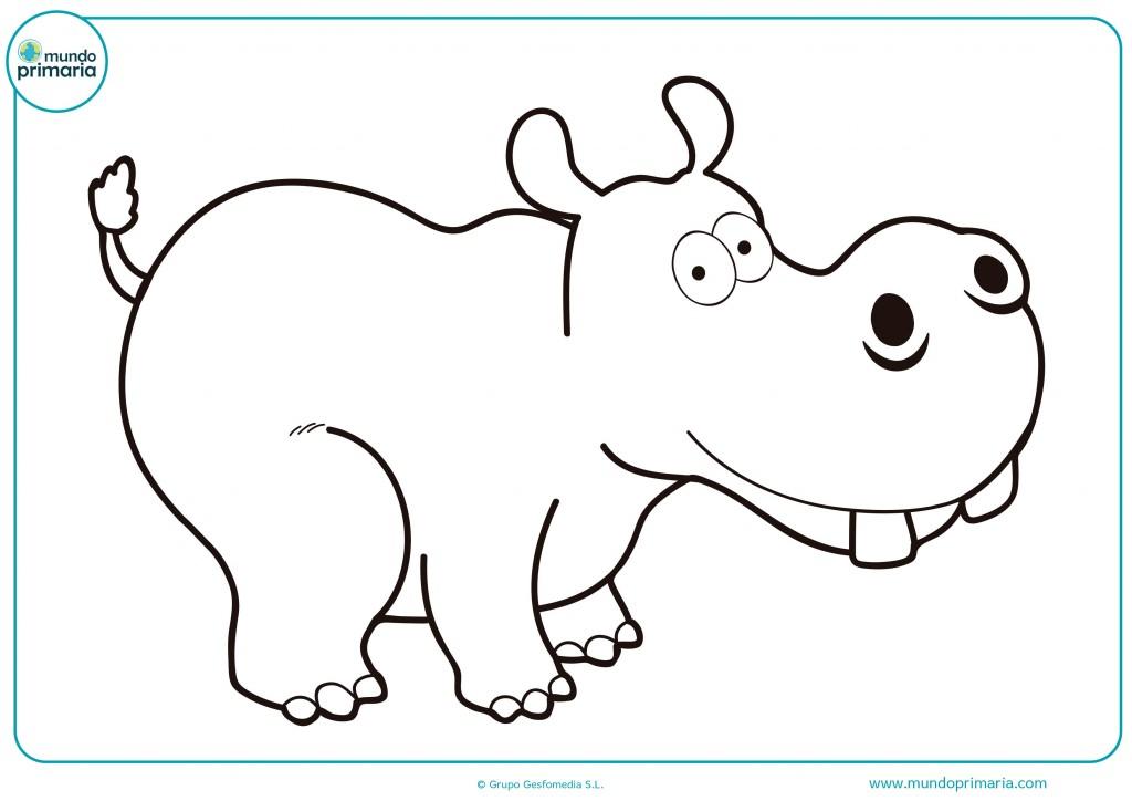 Colorea este gran hipopótamo blanco