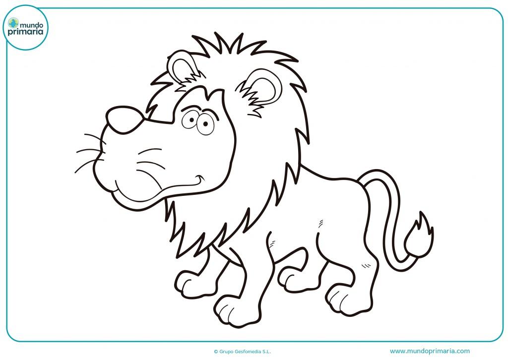 Colorea la larga melena de este león y sus grandes zarpas