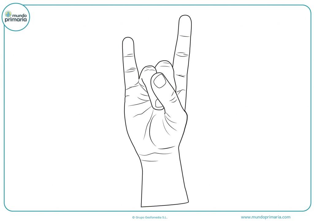 Dibujo de una mano haciendo figura de una u