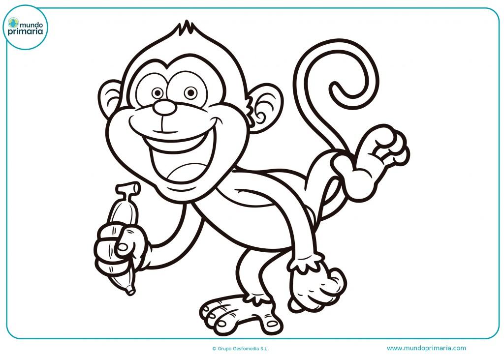 Colorea este mono con pinturas rojas