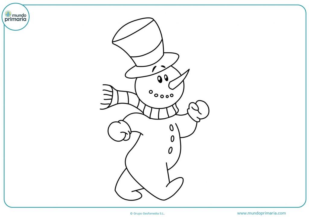 Colorea el muñeco de nieve con colores