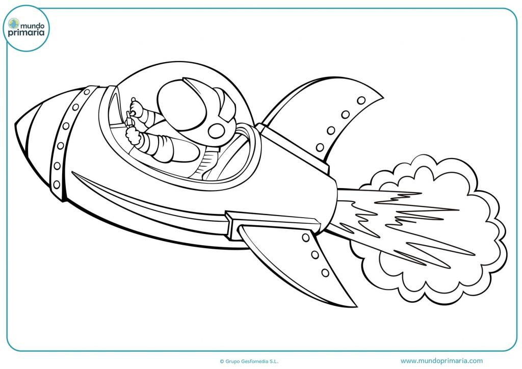 Colorea la nave y el astronauta para infantil